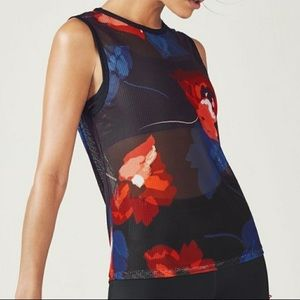 FABLETICS / Black and red floral Harleen tank / 1X